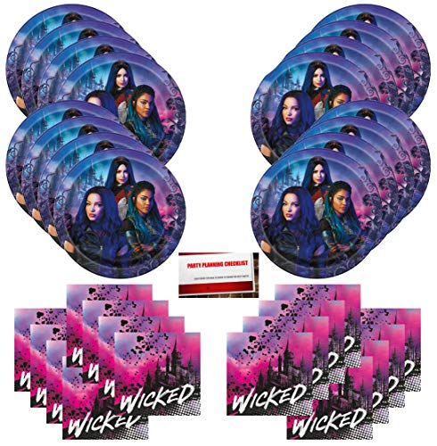 Disney Descendants 3 Wicked Audrey Uma Birthday Party Supplies Bundle Pack for 16 Guests (Plus Party Planning Checklist by Mikes Super Store)