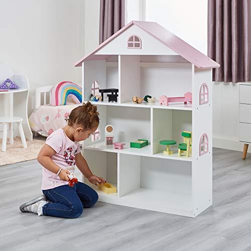 Liberty House Toys Librería de Madera para casa de muñecas, Madera, Blanco, Rosa, 106,5 cm de Alto x 83 cm de Ancho x 30 cm de Profundidad