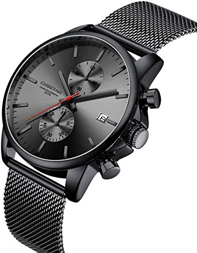 Orologio da polso da uomo, alla moda, sportivo, al quarzo, analogico, maglia nera, acciaio inossidabile, impermeabile, cronografo, datario automatico