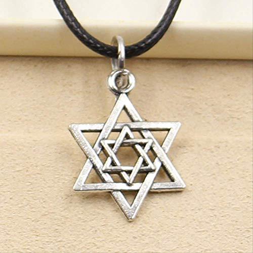 Estrella De David Escudo Colgante Collar Gargantilla Encanto Negro Cuero Cordón Hecho A Mano Joyería