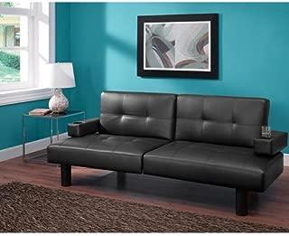 Mainstay Connectrix Faux Leather Futon, Multiple Colors (Black)