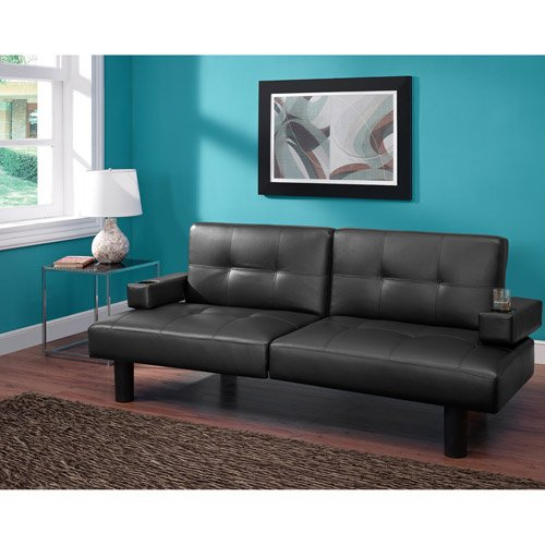 Mainstay Connectrix Faux Leather Futon, Multiple Colors (Black)