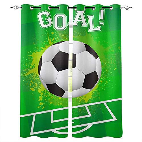 Gaepni Cortinas Aislantes Fútbol Americano 2 Unidades Opacas Cortina Térmica Visillo 100% Poliéster170Cm X 200Cm