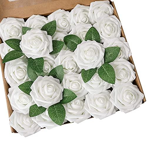 Ruiuzioong Künstliche 25 Stück Rosen Blumen Schaumrosen Foamrosen Kunstblumen Rosenköpfe Gefälschte Kunstrose Rose für Hochzeit Blumensträuße Braut Zuhause Dekoration (Weiß, 25 Stück)