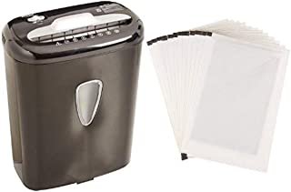 Amazon Basics 6-Sheet High-Security Micro-Cut Paper Shredder and Shredder Sharpening & Lubricant Sheets (Pack of 12) Bundle