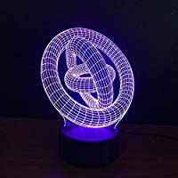 3DLed抽象ランプ7色ナイトライトサークルリングアラウンドシェイプテーブルランプクリスマスデコレーション照明ギフト家の装飾