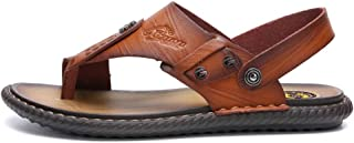 Haibeisi Stylish and comfortable Men's T-strap Sandals Flip Flops Thong Slippers Microfiber Leather Sewing Anti Slip Ankle Strap Shoes Decor with Stud (Color : Gold, Size : 39 EU)