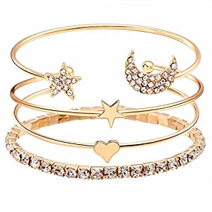 Shining Diva Fashion Gold-plated and Cubic Zirconia Multilayer Charm Bracelet for Women & Girls