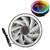 Ventilador de refrigeración de CPU de Luces de Colores RGB, radiador de Ruido Ultra bajo 1700RPM Ventilador de enfriamiento de CPU para Intel AMD Desktop, Alta eficiencia y bajo Consumo de energía