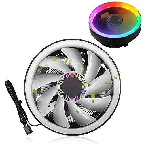 Archuu Ventilador del radiador de enfriamiento de la CPU, Luces de Colores de 12 V CC RGB Disipador de Calor de la CPU de 1700 RPM para Intel para AMD, disipación de Calor en Silencio