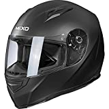 Nexo Integralhelm Motorradhelm Helm Motorrad Mopedhelm Basic II, herausnehmbares Komfortpolster, Be- und Entlüftung, Nasen-, Kinnwindabweiser, klares Visier, Ratschenverschluss, matt Schwarz, L