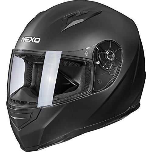 Nexo Integralhelm Motorradhelm Helm Motorrad Mopedhelm Basic II, herausnehmbares Komfortpolster, Be- und Entlüftung, Nasen-, Kinnwindabweiser, klares Visier, Ratschenverschluss, matt Schwarz, XS