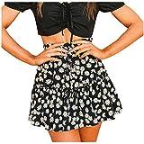 Aniywn Summer Floral Mini Skirt, Womens Daisy Print Zipper Mid Waist Ruffled Casual Flared Mini Skater Skirt Black