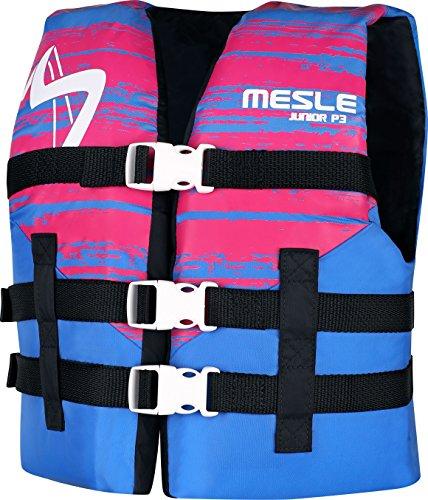 MESLE Schwimmhilfe P3 Junior, 50-N, Weste für Kinder bis 40 kg, blau-pink, Nylon Wasserski Wakeboard