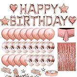 Gobesty Juego de decoración de cumpleaños con globo de oro rosa, con banderola de cumpleaños de oro rosa, globos de confeti, mantel, cortina de fondo, confeti, cortina de flecos + cinta