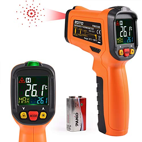 Digital Laser Infrared Thermometer,ZOTO Non Contact Temperature Gun Instant-Read -58 ℉to 1022℉with LED Display for Kitchen Cooking BBQ Automotive and Industrial PM6530B Thermometer (Orange)