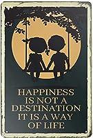 2個 幸せは目的地ではありませんブリキの看板金属板装飾看板家の装飾プラーク看板地下鉄金属板8x12インチ メタルプレート レトロ アメリカン ブリキ 看板