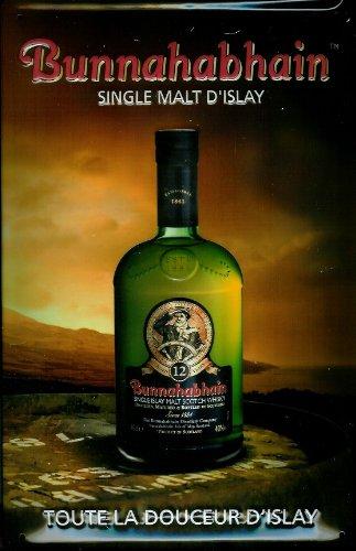 Blechschild Nostalgieschild Bunnahabhain Single Malt Scotch Whisky Schild retro Werbungretro Schild Kneipenschild