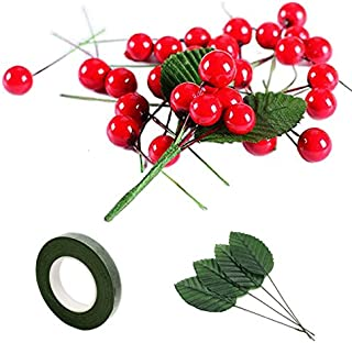 200 Pcs Artificial Small Berries Red Cherry 100 Pcs Fake Green Leaves with 1 Roll Floral Tape for Christmas Tree DIY Gift Decorative