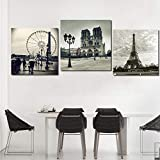ZLARGEW Modern New York London Paris City Wall Art Posters e Impresiones Imágenes en Blanco y Negro para la decoración del hogar de la Sala de Estar - 40x40cmx3 Sin Marco