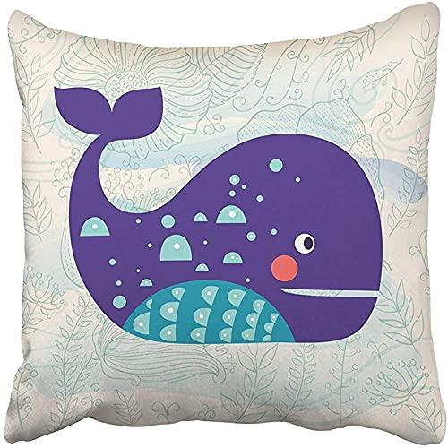 Throw Pillow Cover Decorativo Poliéster Cuadrado 18x18 Pulgadas Azul Verano Ballena Hermosas Olas Flores Acuarela Animal Acuático Funda de Almohada Estampado Sofá de Dos Lados Hogar