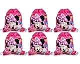 Disney [6-Pack] Minnie Mouse 14-inch Sling Bags Drawstring Cinch Sack Totes, Pink