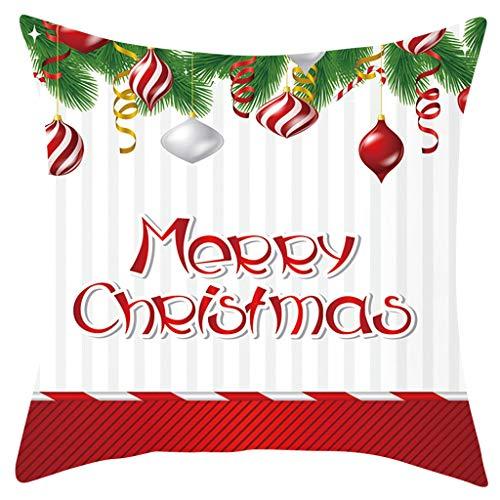 Kolylong® Weihnachten Kissenbezug Winter Weich Wohnkultur schönem Weihnachten Muster Weihnachtsdeko Bettwäsche Dekorative Kissenhülle Zierkissenbezüge Elch Weihnachtsmann Druck 45 * 45cm