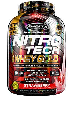 Protein Powders, MuscleTech Nitro-Tech Whey Gold, Whey Protein Powder, Whey Protein Isolate and Peptides, Protein Powder for Women and Men, Strawberry Protein Powder, 2.51 kg (77 Servings)