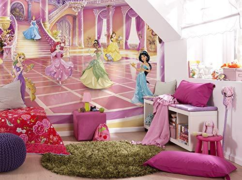 Komar Disney Fototapete | Disney Princess Glitzerparty | Größe: 368 x 254 cm (Breite x Höhe) | Mädchen, Prinzessin, Tapete, Kinder, Wand, Kinderzimmer, Dekoration | 8-4107