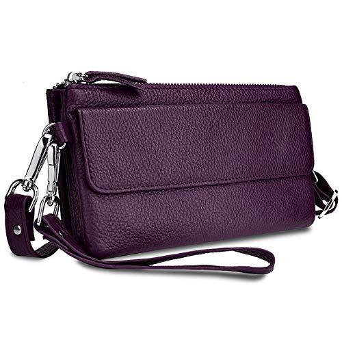 Yaluxe Borsa a tracolla Donna in vera pelle Borsa a polso per smartphone Portafoglio a con slot per schede di blocco RFID Porpora