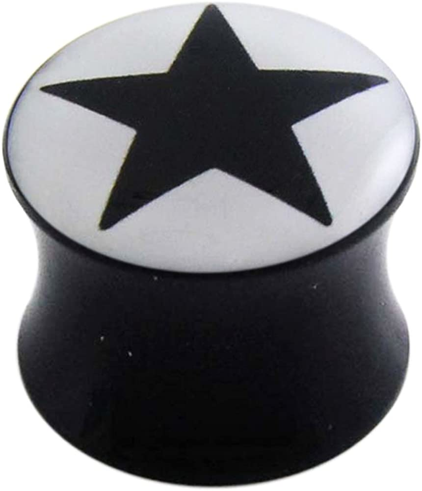AtoZ Piercing Black Star Logo Picture on Black UV Acrylic Double Flared Ear Plug - Sold by Piece