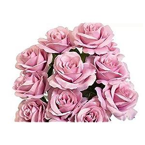 Silk Flower Arrangements Artificial Flowers Fake 12 Dusty Lavender Open Roses Faux Silk Wedding Lilac New #AFFTM