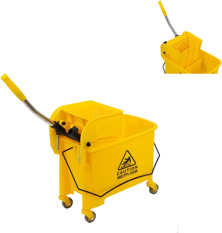 UINKISY Limited time sale 5.28 outlet Gallon Mop Bucket with Combo Side Wringer Press Com