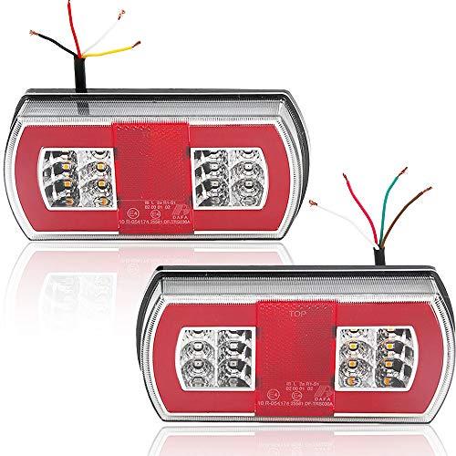 Hawkeye par LED Remolque de Luces Traseras Halo Lámpara Impermeable de iluminación para remolque Camión Caravana (Rojo con Reflector, Rectángulo)
