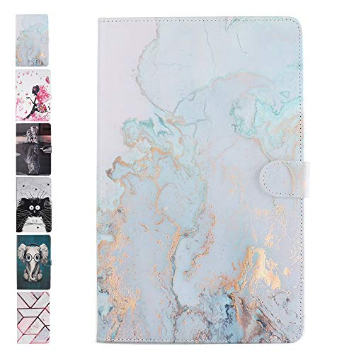 ANCASE Housse Coque pour Tablette Huawei MediaPad T3 10.0 Pouces Motif à Rabat en Cuir Porte Carte Portefeuille Flip Case Cover Etui - Marbre Bleu Doré