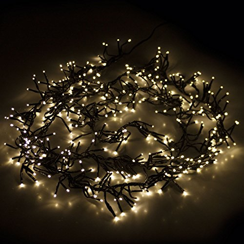 384er LED Cluster Lichterkette mit warmweiß, 5.35m, 8 Leuchteffekte, Innen & Außen