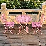WYJW Tuinmeubelen tafel en 2 stoelen - Opklapbare weerbestendige Bistro-Sets - Patio Yard Outdoor Dining Furniture
