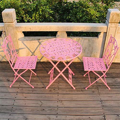 Mesa de jardín Muebles y 2 sillas - Plegable Resistente a la Intemperie Bistro Conjuntos- Patio Patio al Aire Libre Muebles de Comedor WKY (Color : Pink)