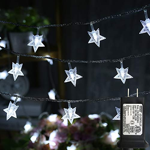 LiyuanQ Star String Lights, 100 LED Plug in String Lights 33 feet 8 Modes Star Fairy Lights Waterproof Twinkle String Lights for Wedding Party Christmas Tree Garden Indoor Outdoor Decor (Cool White)