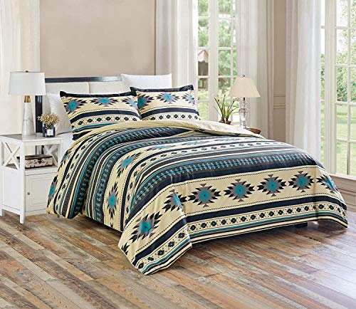 2-Piece Southwestern Geometric Tribal Multicolor Teal Beige Black Gray Comforter Set, Twin Size