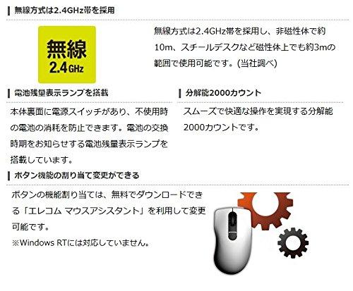 『エレコム マウス ワイヤレス (レシーバー付属) Sサイズ 小型 5ボタン (戻る・進むボタン搭載) BlueLED 握りの極み ホワイト M-XGS10DBWH』の9枚目の画像