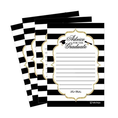 25 Graduation Advice Words of Wisdom Cards For Graduate Class of 2021 College, High School, University Grad, Funny Black and Gold Party Games Presents Activities Keepsakes for 4x6 photo album Supplies