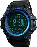 Big Face Mens Outdoor Sports Army Watches Pedometer Calories Digital Watch Altimeter Barometer Compass Thermometer Weather Men Watch (Blue)
