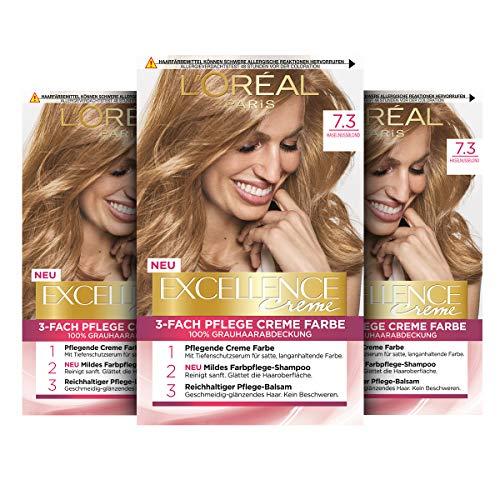 L'Oréal Paris Excellence Creme Permanente Haarfarbe, 100% Grauhaarabdeckung, Haarfärbeset mit Coloration, Shampoo und 3-fach Pflegecreme, 7.3 Haselnussblond, 3 x 268 g