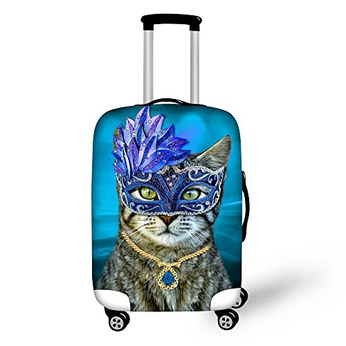 FOR U DESIGNS 18-22 Inch Small Blue Cat Print with Party Creative Suitcase Protective Cover for Women