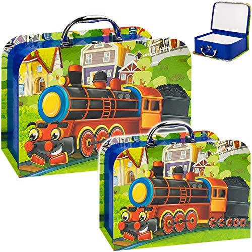 alles-meine.de GmbH Koffer / Kinderkoffer - MITTEL - lustige Dampflok / Eisenbahn - 23 cm - ideal für Spielzeug und als Geldgeschenk - Mädchen & Jungen - Pappkoffer - Puppenkoffe..