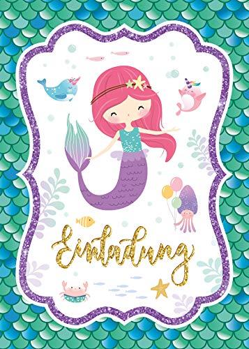 Junaversum 12 Einladungskarten zum Kindergeburtstag Mädchen Meerjungfrau Einladungen zum Geburtstag Kinder