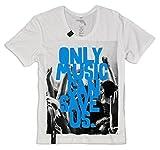 Photo de Pistol Boutique Hommes Blanc léger decolleté Seulement Musique Can Save Us T-Shirt - Blanc, Blanc, Small