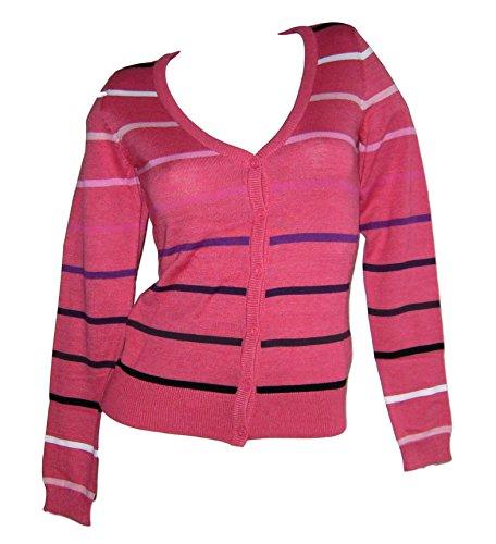 AJC Fashion Feinstrick Cardigan Strickjacke Gr 32 34 XS rot gestreift
