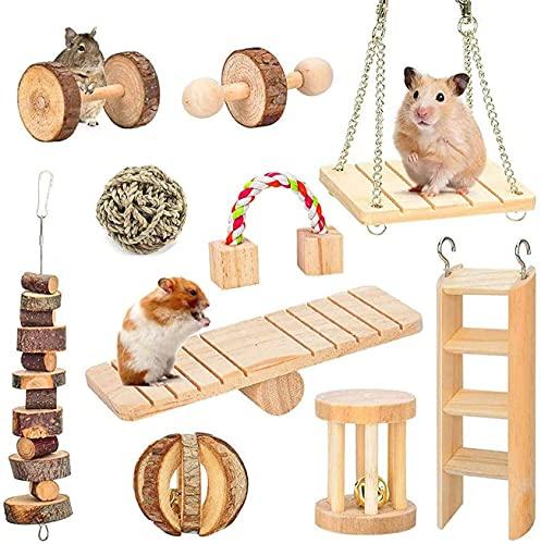 Wonninek Lot de 10 Jouets à mâcher pour Hamster, Cochon d'Inde Jouets en Bois Naturel Gerbille Rats Chinchillas Jouets Accessoires haltères Exercice Cloche Rouleau Soins